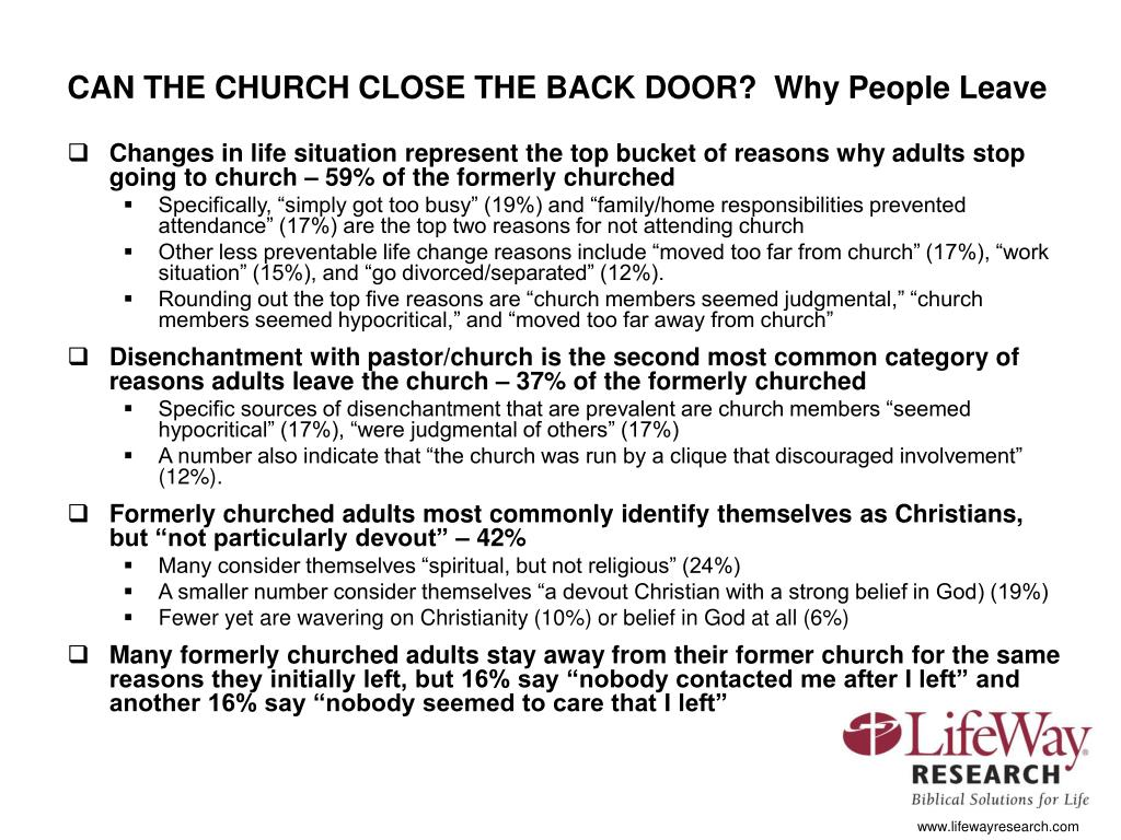 CAN THE CHURCH CLOSE THE BACK DOOR?  Why People Leave