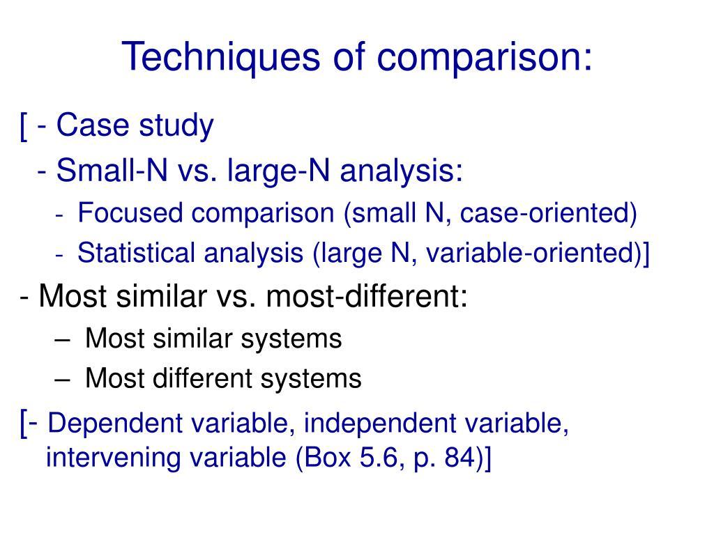 Techniques of comparison: