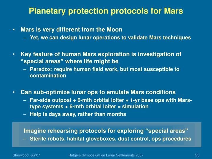 Planetary protection protocols for Mars