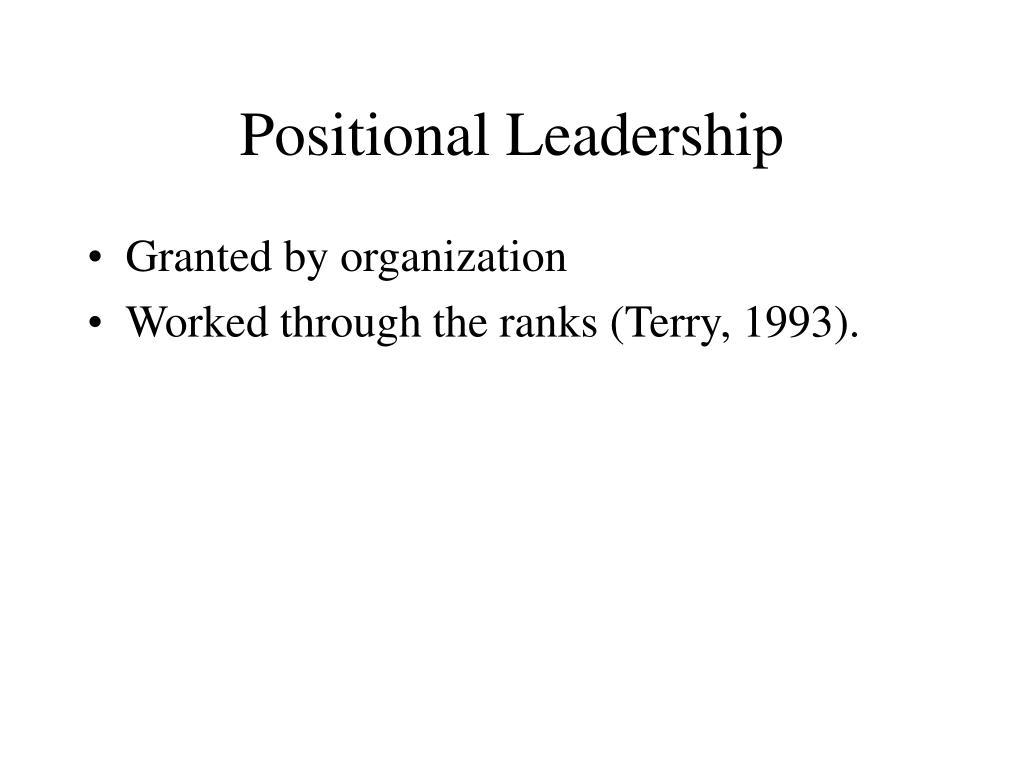 Positional Leadership