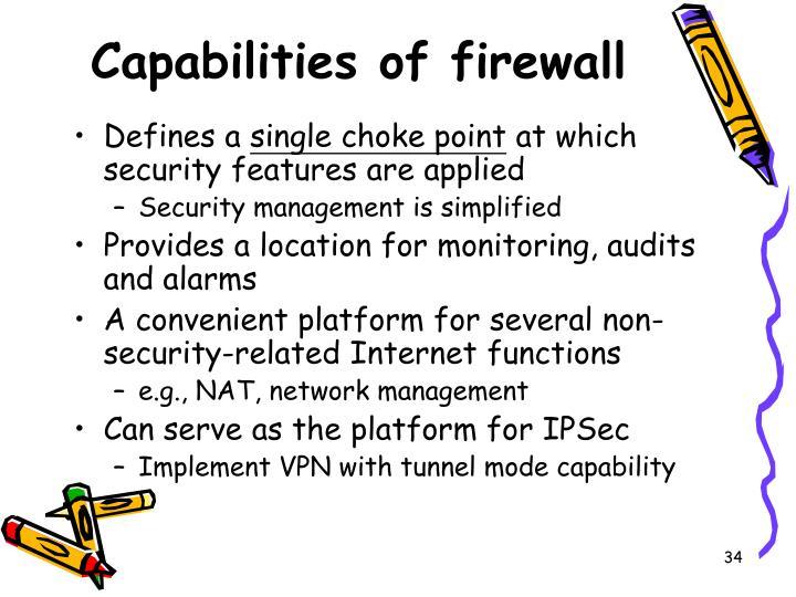 Capabilities of firewall