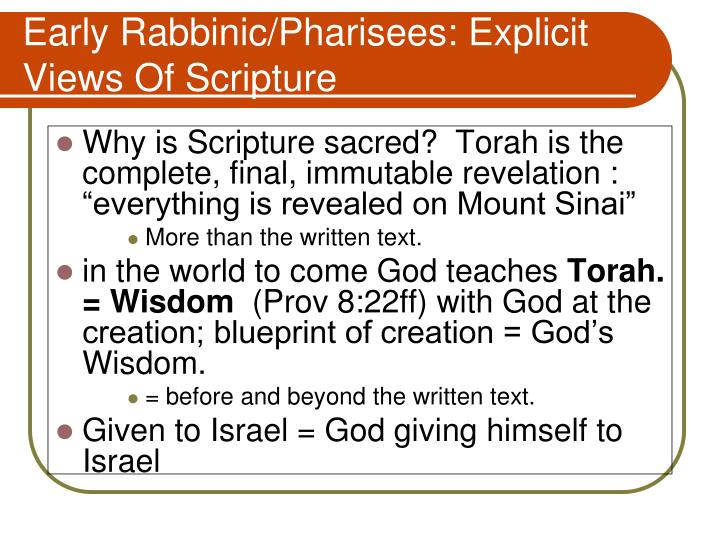 Early Rabbinic/Pharisees: Explicit  Views Of Scripture