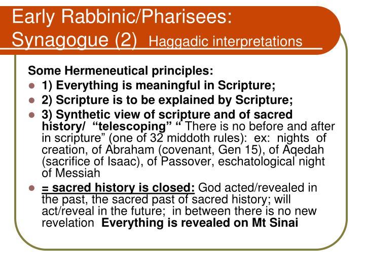 Early Rabbinic/Pharisees:   Synagogue (2)