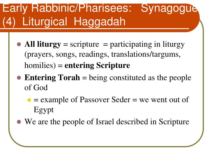 Early Rabbinic/Pharisees:   Synagogue (4)  Liturgical  Haggadah