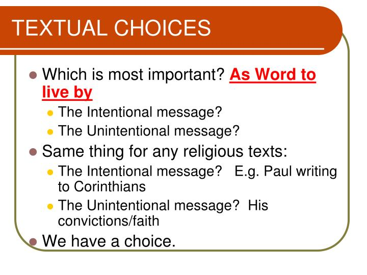 TEXTUAL CHOICES
