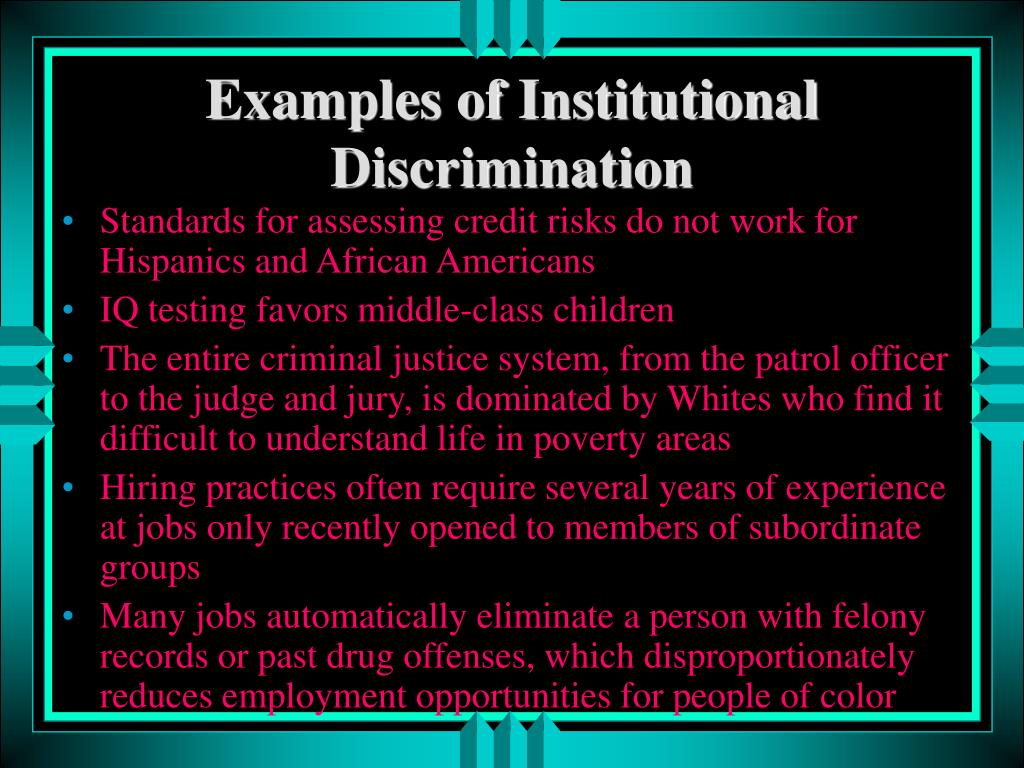 Examples of Institutional Discrimination