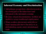 informal economy and discrimination
