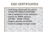 esd certificates