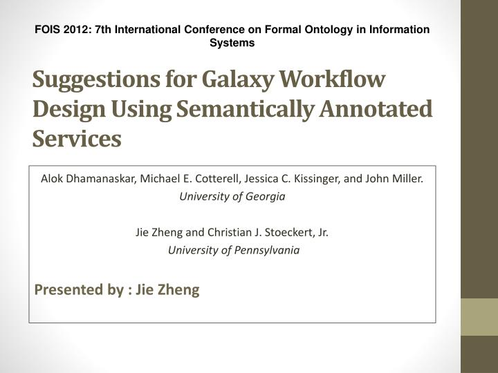 suggestions for galaxy workflow design using semantically annotated services n.