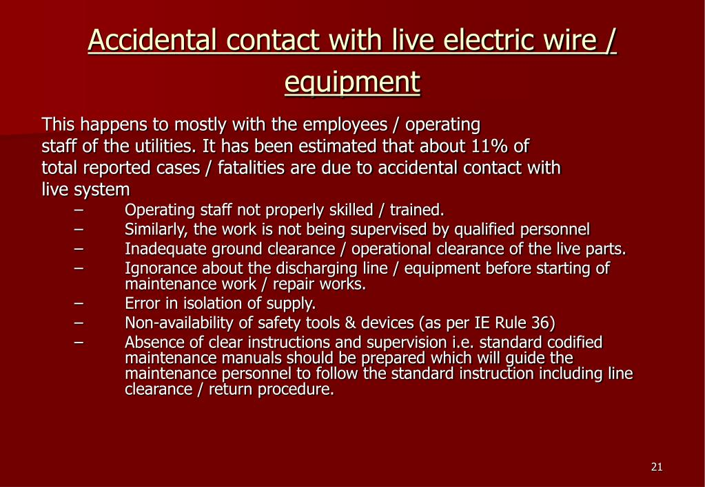 Accidental contact with live electric wire / equipment