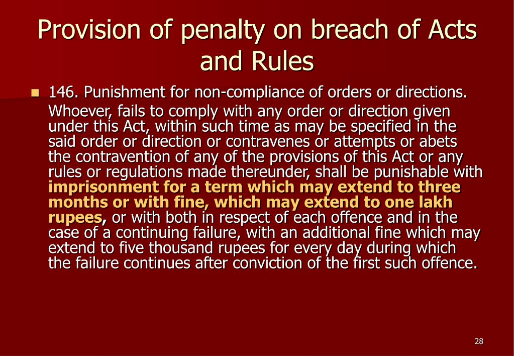 Provision of penalty on breach of Acts and Rules