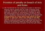 provision of penalty on breach of acts and rules28