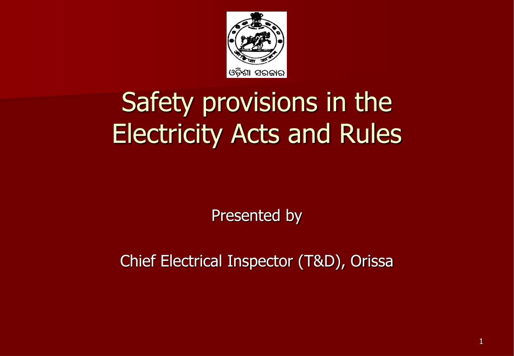 safety provisions in the electricity acts and rules l.
