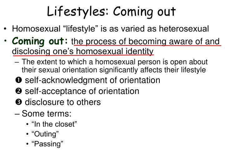 Lifestyles: Coming out