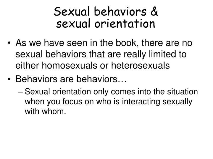 Sexual behaviors &