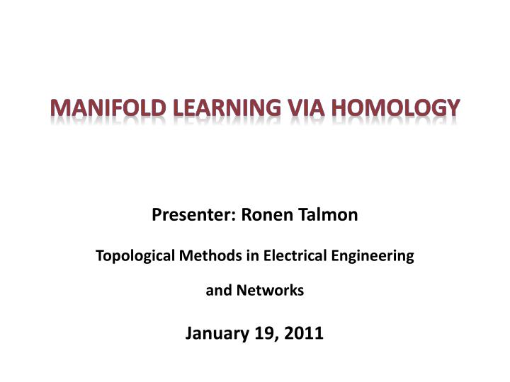 manifold learning via homology