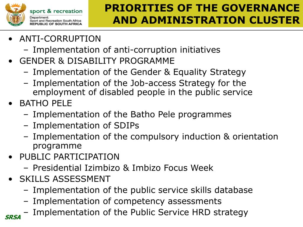 PRIORITIES OF THE GOVERNANCE AND ADMINISTRATION CLUSTER