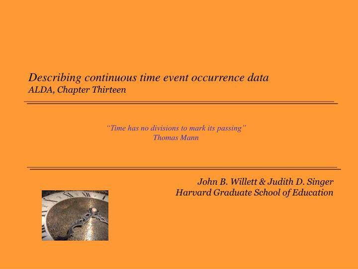 Describing continuous time event occurrence data alda chapter thirteen