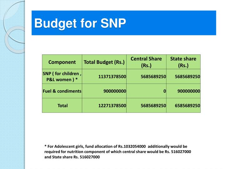 Budget for SNP