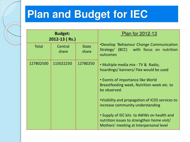 Plan and Budget for IEC