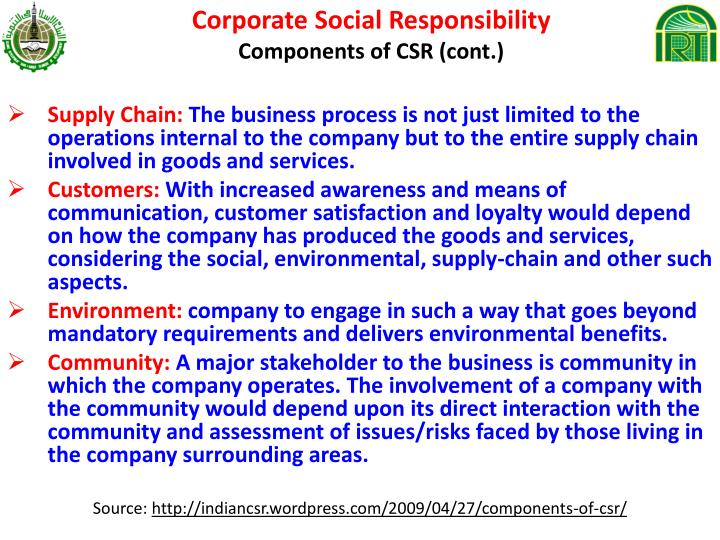 corporate social responsibilty in supply chain View information regarding ciena's supply chain reflecting ciena ciena supports the california transparency in supply corporate social responsibility.