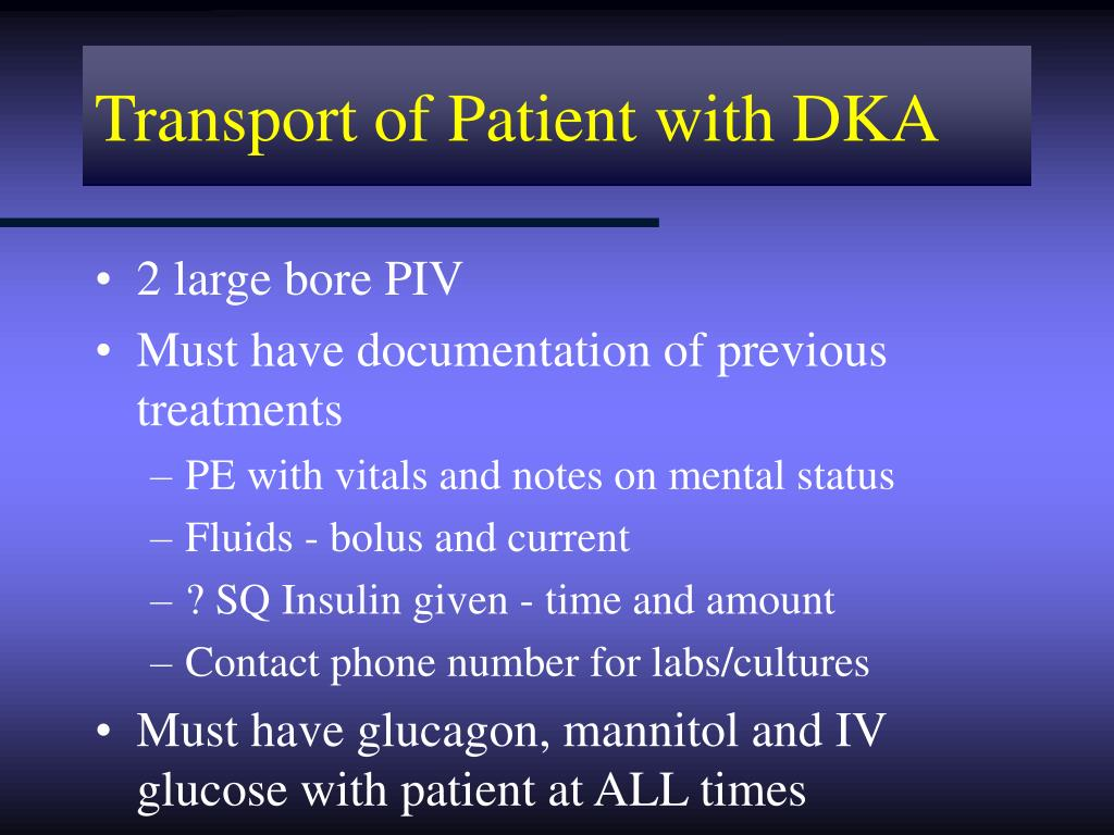Transport of Patient with DKA