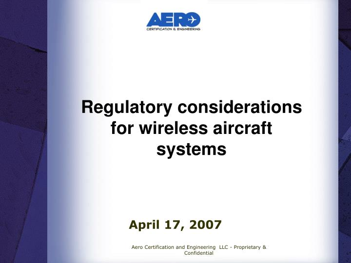 regulatory considerations for wireless aircraft systems n.