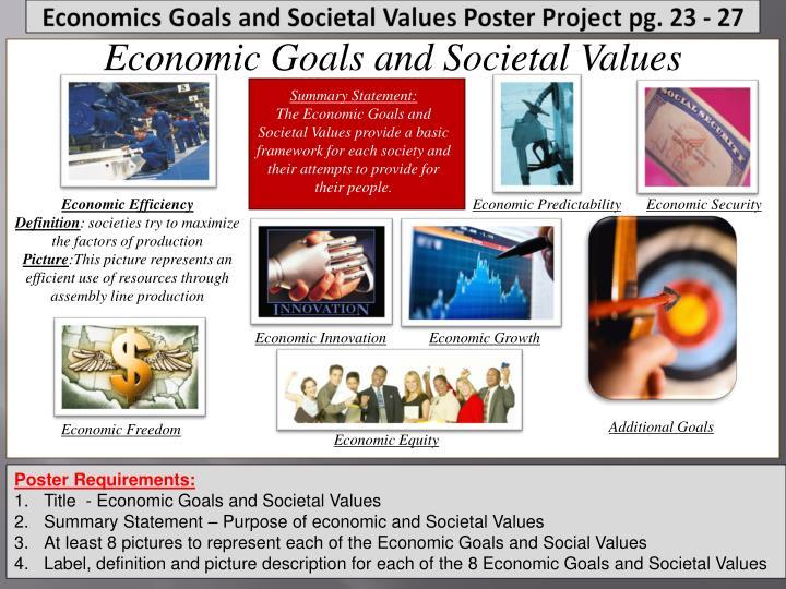Economic Goals and Societal Values