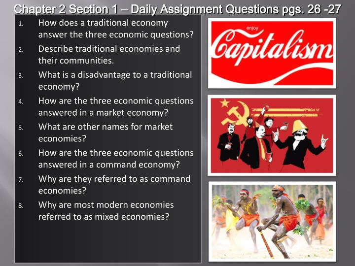 Chapter 2 Section 1 – Daily Assignment Questions pgs. 26 -27
