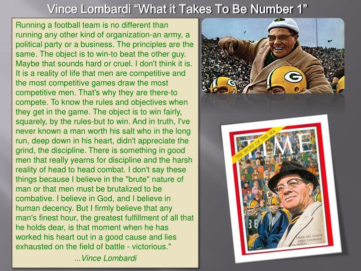 """Vince Lombardi """"What it Takes To Be Number 1"""""""