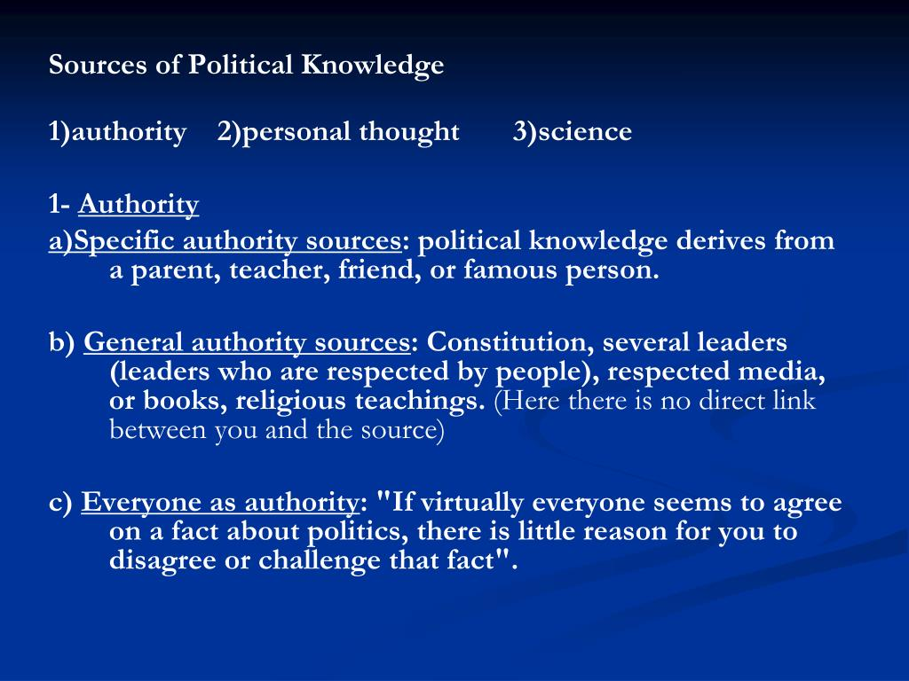Sources of Political Knowledge