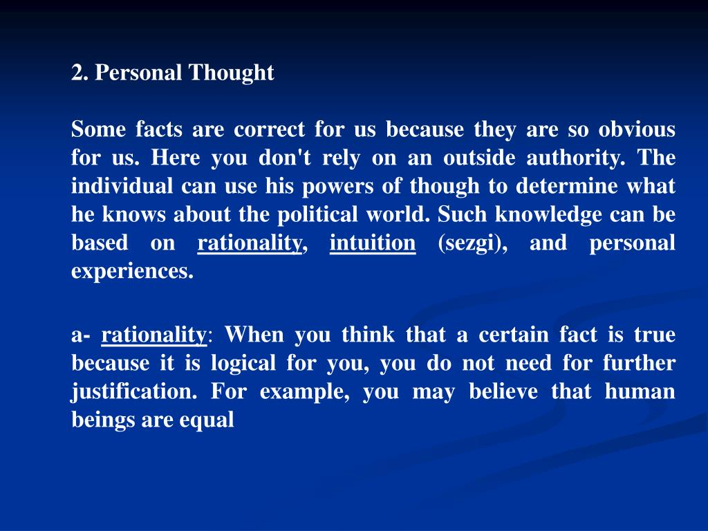 2. Personal Thought