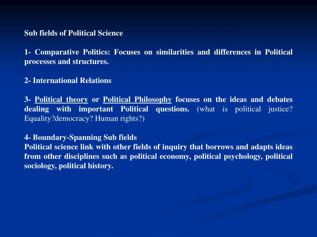 Sub fields of Political Science