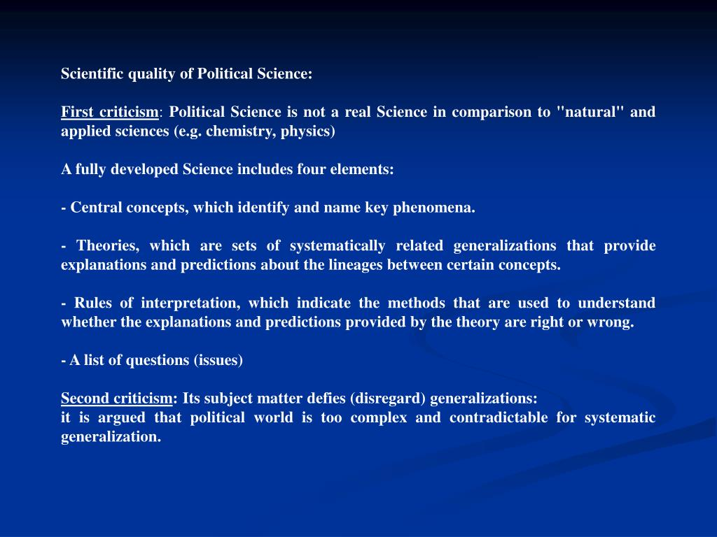 Scientific quality of Political Science: