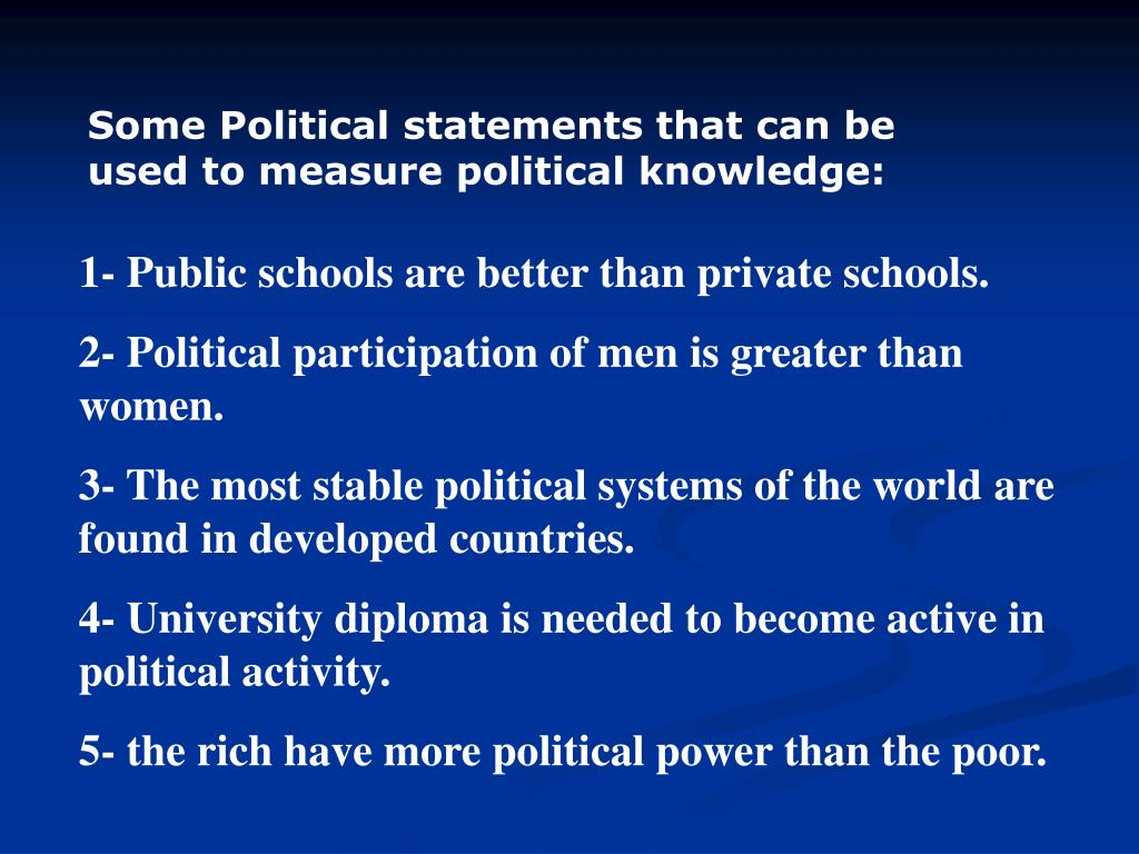 Some Political statements that can be used to measure political knowledge: