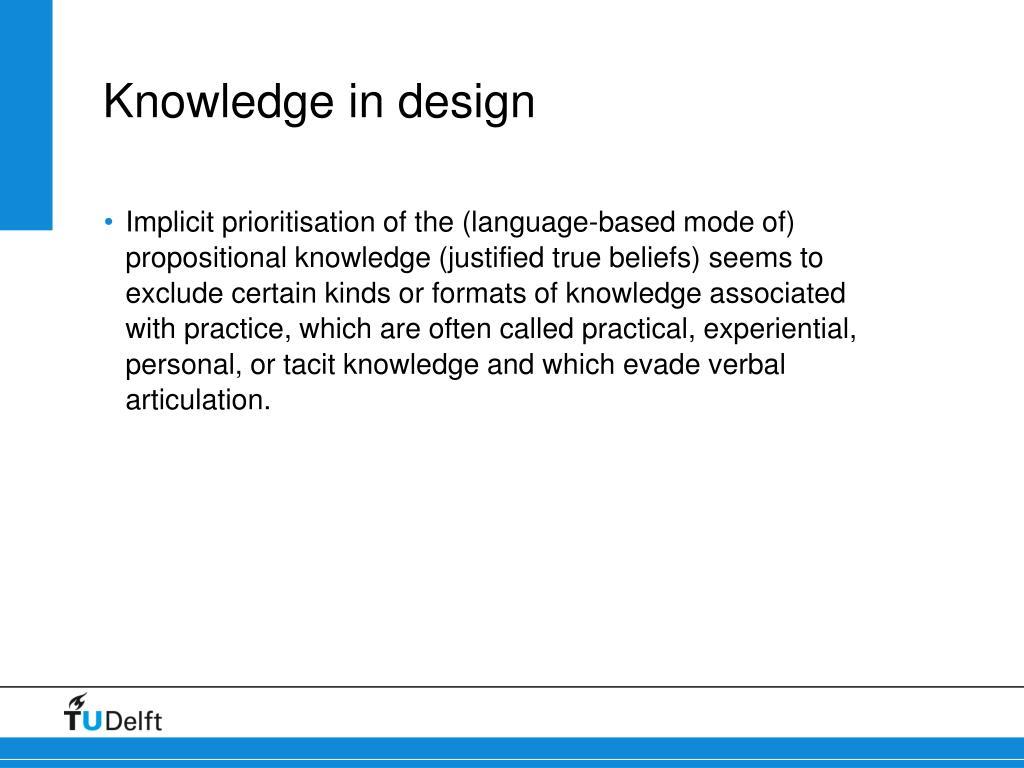 Knowledge in design