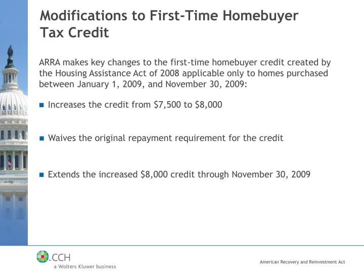 Modifications to First-Time Homebuyer