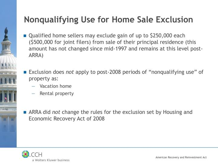Nonqualifying Use for Home Sale Exclusion