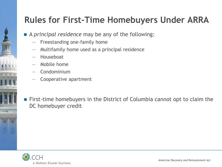 Rules for First-Time Homebuyers Under ARRA