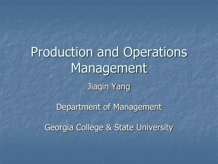production and operations management n.