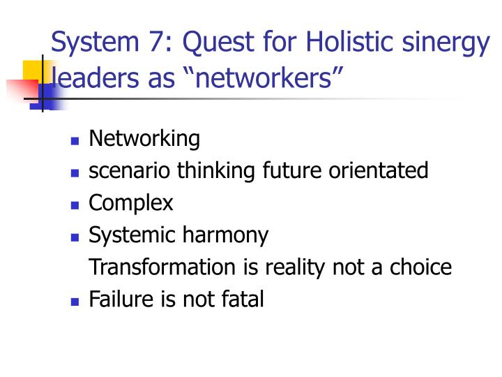 System 7: Quest for Holistic sinergy