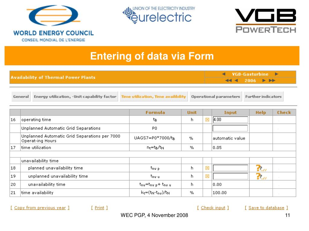Entering of data via Form