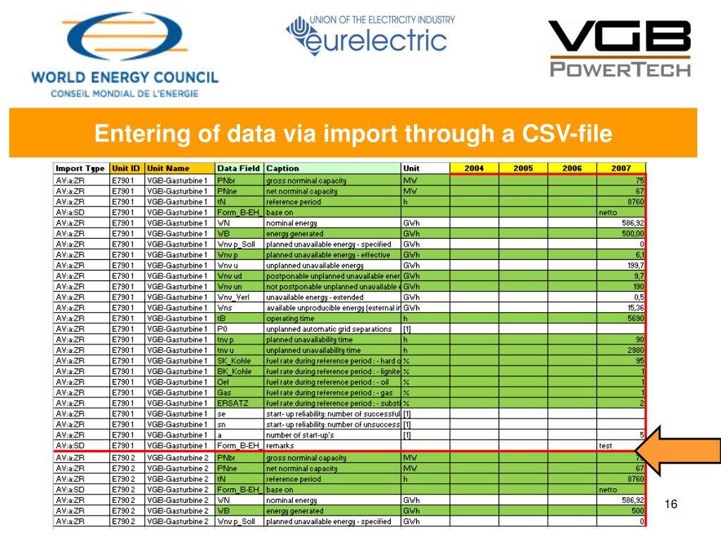 Entering of data via import through a CSV-file