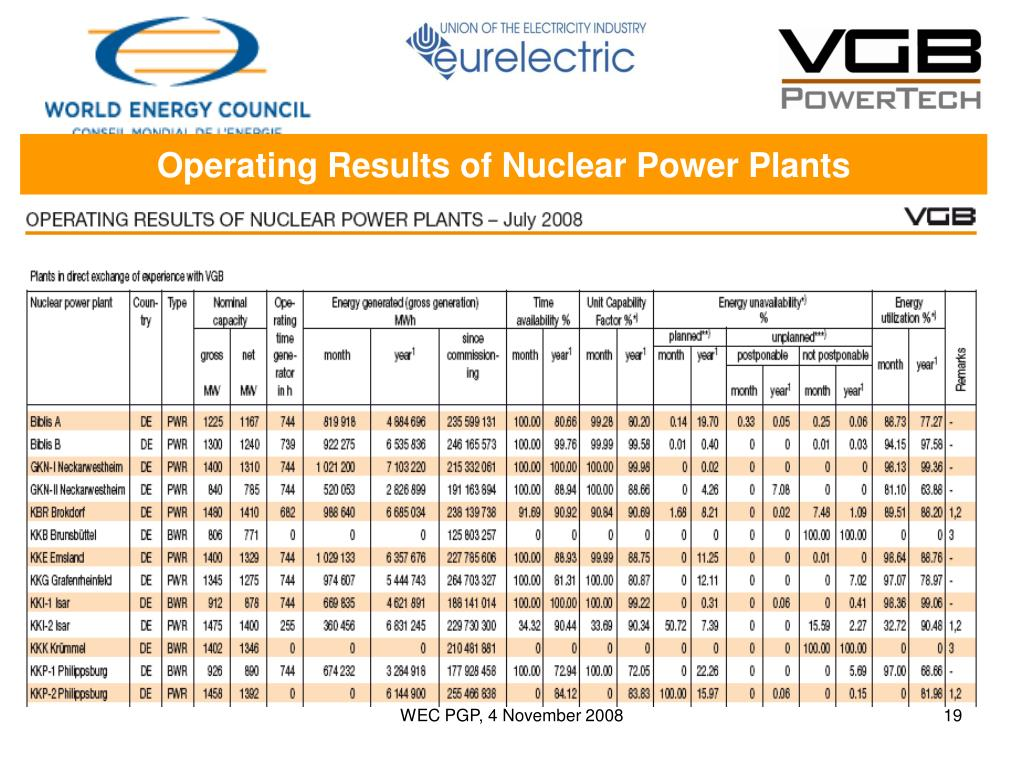 Operating Results of Nuclear Power Plants