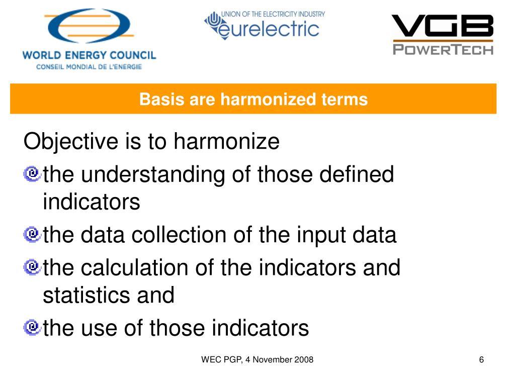 Basis are harmonized terms