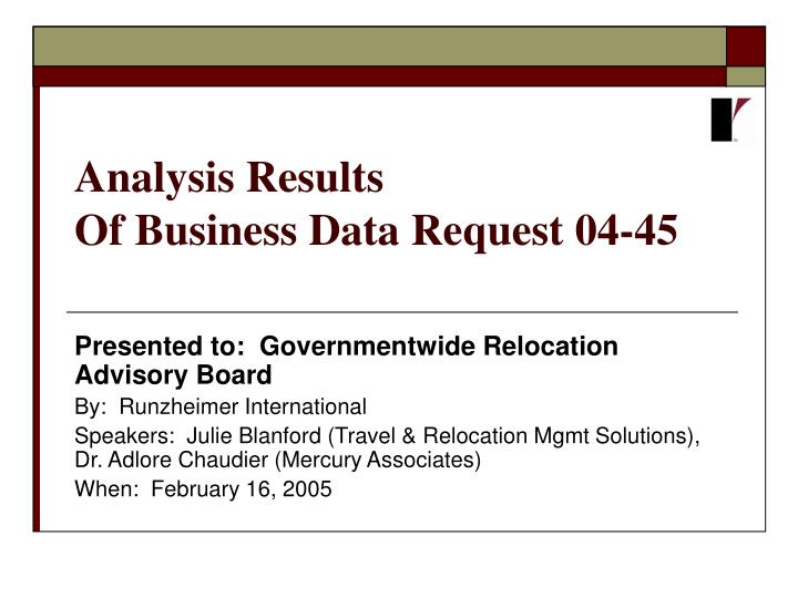 analysis results of business data request 04 45 n.
