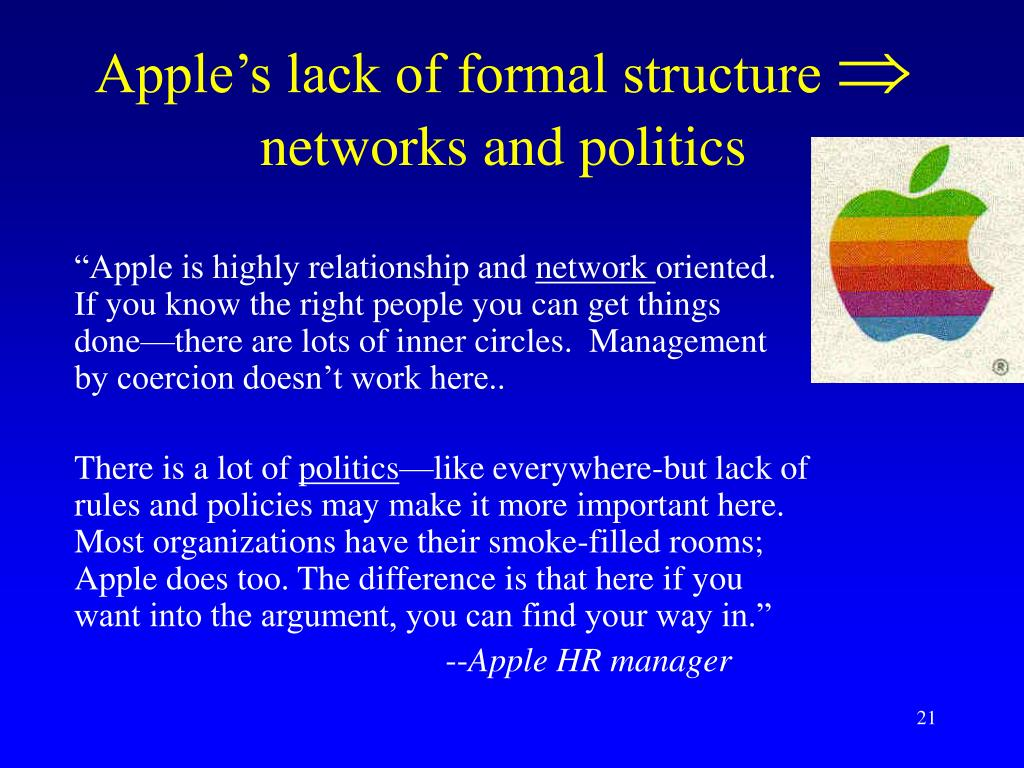 Apple's lack of formal structure