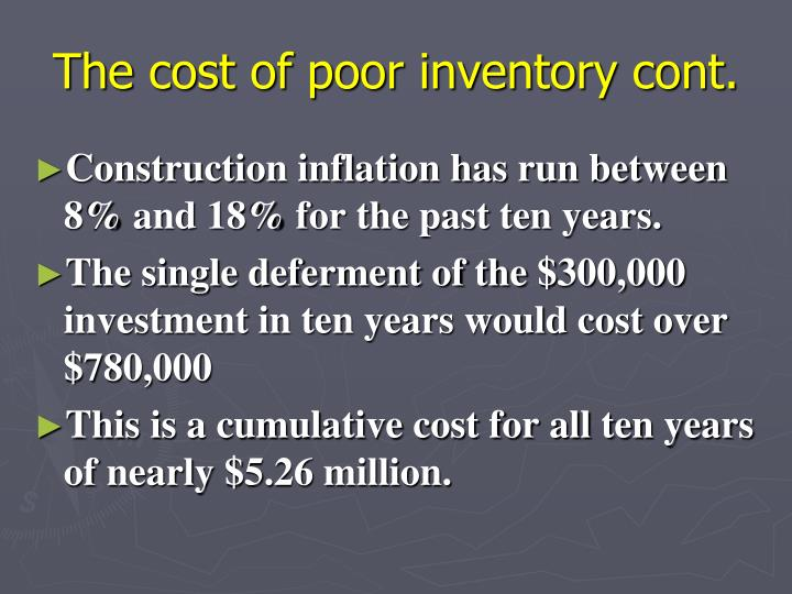 The cost of poor inventory cont.