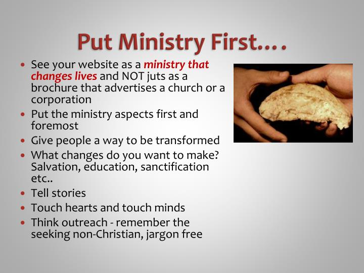 Put Ministry First….