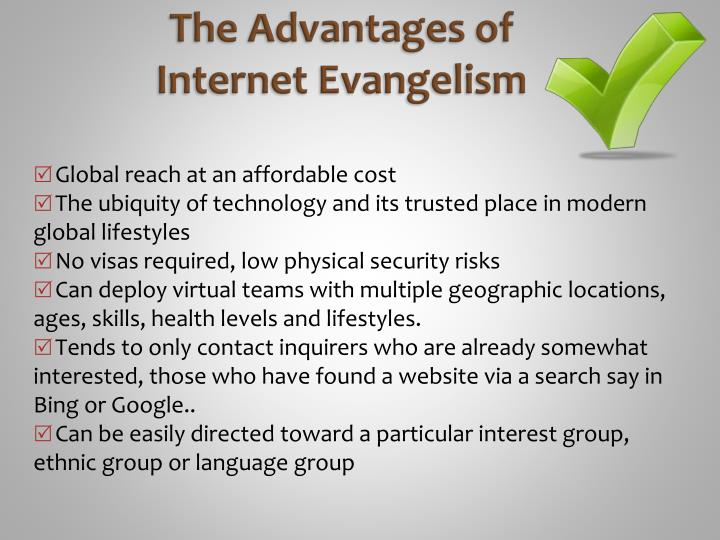 The advantages of internet evangelism